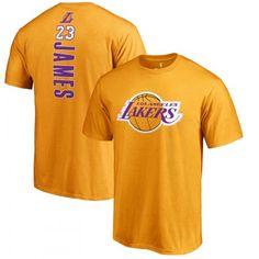 0593623ab67 Buy LeBron James Los Angeles Lakers LA  23 NBA Fanatics Gold T-Shirt Backer