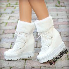 Prag Beyaz Kalın Tabanlı Kar Botu #white #winter #boots