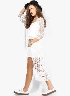 Buy Miss Selfridge White Embroidered Shrug Online - 3716448 - Jabong Lakme Fashion Week, Miss Selfridge, White Dress, India, Shopping, Dresses, Vestidos, Goa India, Dress
