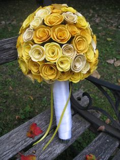 Mini Paper Rose Bouquet YOUR CHOICE of COLOR. Weddings First