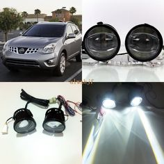 July King 1600LM 24W 6000K LED Light Guide Q5 Lens Fog Lamp  1000LM 14W Day Running Lights DRL Case for Nissan Rogue 2011-2015