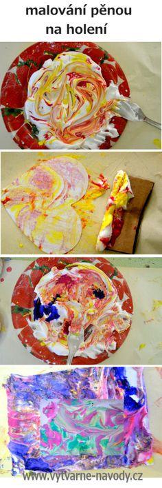 návod na výrobu mramorového papíru pomocí malování pěnou na holení