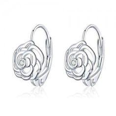 Rose Earrings, Dangle Earrings, Initial Earrings, Wholesale Silver Jewelry, Sterling Silver Earrings, Amber, Ivy, Drop Earrings, Pink Earrings