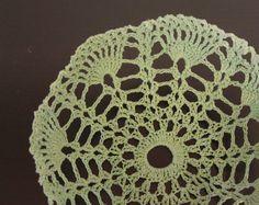 Mint Green Bowl Lace Crochet Doily Basket on Luulla