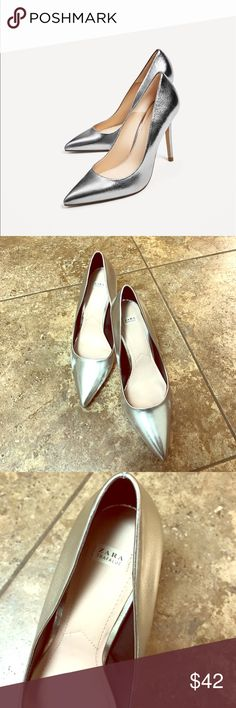 Zara Trafaluc Metallic pumps Be the stylish edgy boss girl that you are wearing this metallic Zara heels. ❤️ Size 8. Still looks new. Heel height is 3 inches. Edgy and sexy ❤️ Zara Shoes Heels