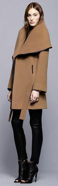 Menchi Leather Trim Belted Coat