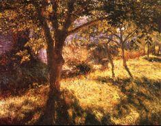 Władysław Podkowiński - Sad w Chrzęsnem, 1892 Landscape Art, Landscape Paintings, Landscapes, French Impressionist Painters, Garden Park, Water Lighting, Classical Art, Painting Inspiration, Lovers Art