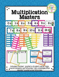 Celebrate students' accomplishments at mastering their multiplication facts with this bulletin board display and certificates they can collect or take home to share with their families. Classroom Displays Secondary, Classroom Jobs, Science Classroom, Primary Classroom, Classroom Management, Multiplication Facts, Math Facts, Student Name Tags, Math Fact Fluency