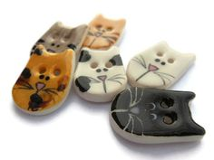 6 Handmade Ceramic Cat Buttons, Calico, Orange Tabby, Grey Tabby, Patch, Black, and White Cat, Novelty, Children's Buttons, Animal Buttons