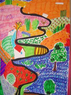 (UK) Landscape by David Hockney ). oil on canvas. David Hockney Artwork, David Hockney Landscapes, David Hockney Artist, Paul Gaugin, Map Quilt, 4th Grade Art, Brian Froud, Art Lessons Elementary, Arts Ed