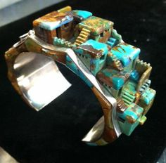 Architectural Jewelry. Steve Yellowhorse Navajo Indian Cuff Bracelet Turquoise Sterling Silver.
