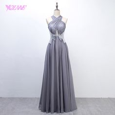 YQLNNE 2018 Sliver Long Prom Dresses Halter Sequins Chiffon Evening Party Gown-in Prom Dresses from Weddings & Events on Aliexpress.com | Alibaba Group Stunning Prom Dresses, Elegant Dresses, Formal Dresses, Cheap Prom Dresses, Wedding Dresses, Evening Party Gowns, Wedding Events, Weddings, Chiffon