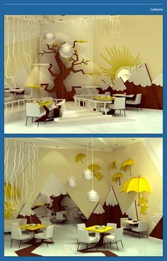 interior design project by Maria Yasko.  We should do some sort of cardboard tree as part of our fort. These aren't cardboard, but you get the idea.