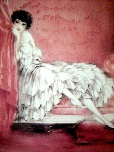 "Pink Alcove by Louis Icart reproduction print /poster 18"" X 13 1 - www.icartvendor.net"