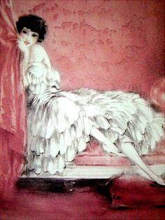 Louis Icart--peaking behind the curtain in the boudoir