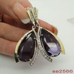 Amazing 9K Gold 925 Sterling Silver Massive purple & by jewela