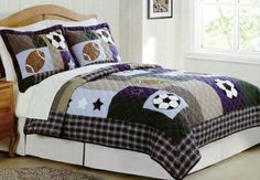 Sports Collage Full / Queen Quilt Set with Two Shams Boys Sports Bedding, Kids Bedding Sets, Queen Quilt, Queen Bedding, Comforter, Bed Back, Quilt Sets, Cotton Quilts, Queen Beds
