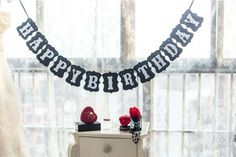 Happy Birthday Banner White and Black Color Bunting Garland for Boys Girls Teens Party Decorations Happy Birthday Vintage, Vintage Birthday Parties, Happy Birthday Bunting, Party Flags, Party Banners, Black Party Decorations, Wedding Decoration, Birthday Party Photography, Bunting Garland