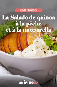 Peach and mozzarella quinoa salad - A recipe for sweet and savory salad that does not lack originality! This quinoa salad with peach an - de salade froide Savory Salads, Easy Salads, Healthy Salad Recipes, Soup Appetizers, Appetizer Recipes, Sweet Salad Recipe, Cuisine Diverse, Deviled Eggs Recipe, Hummus