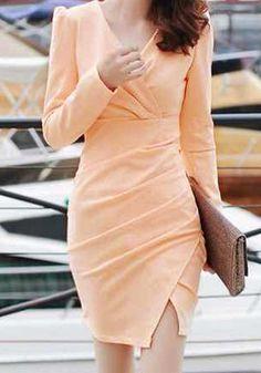 Pink-Orange Wrap Style Dress