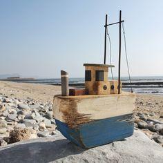 Blue Rustic Trawler   Model Boat   Decorative Boat - buy the sea
