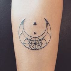 geometric moon tattoo