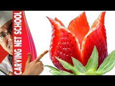 Art In Strawberry Decoration | Fruit Carving Garnish | Strawberry Art | Italypaul.co.uk - YouTube