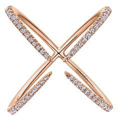 14k Pink Gold Diamond Fashion Ladies' Ring | Gabriel & Co NY | LR50929K45JJ