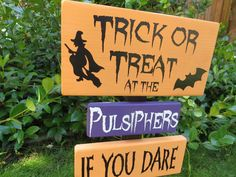 halloween yard sign trick or treat personalized sign halloween decorationshalloween - Personalized Halloween Decorations