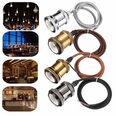 1M E27/E26 Copper Vintage Ceiling Pendant Cord Edison Light Bulb Socket Holder AC 110V-240V