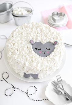 "Love Ewe Coconut Cake (vegan) by Heather Baird on her ""Sprinkle Bakes"" blog.  Includes her recipe and step by step tutorial for her 8"" double layer cake, which has a luscious texture using full-fat coconut milk and light vegetable oil."