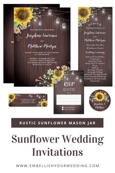 Rustic wedding invitations featuring sunflowers, mason jar string lights, wildflowers and a wood background. Please visit our website to see the full range of matching stationery. #wedding #sunflowerwedding #rusticwedding #sunflowerweddinginvitations #rusticweddinginvitations #weddings #sunflowers