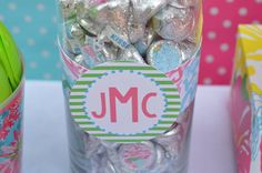 Lilly Pulitzer Inspired Party  www.facebook.com/poshpartygirl  #lillypulitzerparty #lillypulitzer #hersheykisses #favors #lilly #monogram #birthdayparty #wedding #shower