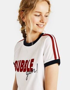 Discover the lastest trends in T-Shirts with Bershka. Log in now and find 371 T-Shirts and new products every week Girly Girl Outfits, Cool Outfits, Fashion Outfits, Casual T Shirts, Cool Shirts, Lacoste Clothing, Buy T Shirts Online, Uniform Shirts, Latest T Shirt