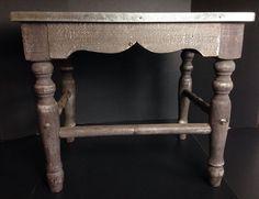 Modern & Vintage Antiqued Gray Wood & Metal Side Table Nightstand #Modern