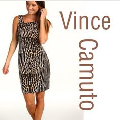 Vince Camuto Gorgeous, slimming, Vince dress. Size 10. New without tags. Never worn. Zip up the back. Gathers on the side for extra slimming affects. Has stretch Vince Camuto Dresses