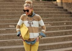 jean shirt, striped sweater, chunky necklace, yellow pants, yellow cluth