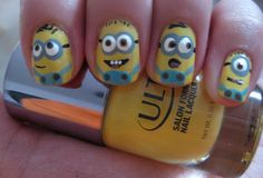Minion Nails - hee hee CUTE!