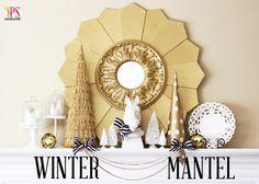 Navy, Gold, and White Winter Mantel www.PositivelySplendid.com - LOVE the mirror!