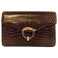 fa23aef9c52 Kwanpen Deep Cognac Crocodile Structured Bag With Chain Strap