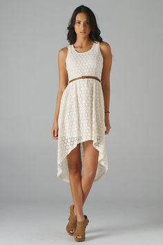 Lavishville - Belted Hi-Lo Lace Dress (Cream), $47.50 (http://www.lavishville.com/belted-hi-lo-lace-dress-cream/)