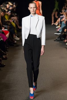 This sharp white spencer jacket and high-waisted pant. Alexander Wang Spring 2015 RTW. #nyfw #AlexanderWang #spring2015