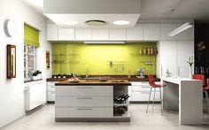 U kuchyní, které navazují například na jídelnu nebo obývací pokoj, klademe i důraz na design. Typy použitých svítidel by měly korespondovat s osvětlením v ... Kitchen Cabinets, Table, Furniture, Design, Home Decor, Lighting, Decoration Home, Room Decor, Cabinets