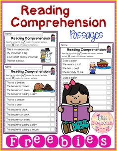 Free reading comprehension passages is suitable for kindergarten students o Guided Reading, Teaching Reading, Free Reading, Early Reading, Reading Groups, Reading Comprehension Passages, Comprehension Worksheets, Kindergarten Freebies, Kindergarten Worksheets