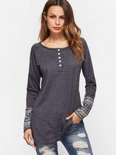 Dark Grey Contrast Tribal Print Cuff Button Front T-shirt