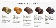 Our Coffee beans Basic Roast Levels