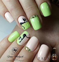 Bright summer nails Fashion nails 2018 Lime summer nails Nails ideas 2018 Nails with animals Original nails Spring summer nails 2018 Two color nails Summer Nails 2018, Bright Summer Nails, Spring Nails, Cat Nail Art, Cat Nails, Two Color Nails, Nail Colors, Classy Nails, Trendy Nails