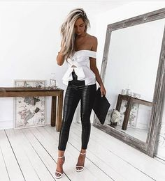 Long Elegant Plain Leggings Black Pants – Ratecuteshop Source by for women Mode Outfits, Night Outfits, Sexy Outfits, Spring Outfits, Trendy Outfits, Fashion Outfits, Womens Fashion, Fashion Ideas, Fashion Styles