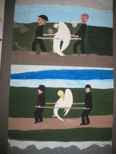 Kuvis ja askartelu: Haavoittunut enkeli pulloväreillä