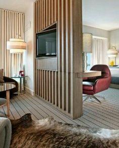 92 Stylish Homes With Modern Interior Design 13 - kindledecor Living Room Partition, Room Partition Designs, Wood Partition, Living Room Divider, Living Room Designs, Living Room Decor, Suites, Modern Interior Design, House Design